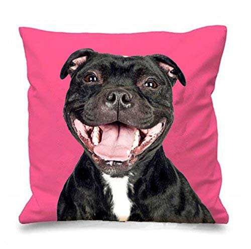 WH-CLA Funny Staffordshire Bull Terrier Cushion Cover Staffie Laughing Staffy Dog Throw Pillow Case Novelty Dogs Puppy Gifts Home Decor