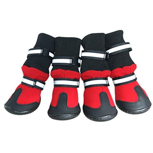 UEETEK Hundeschuhe Anti Rutsch Haustier Schuhe wasserdichte Regen Stiefel für Hunde Größe L (rot)