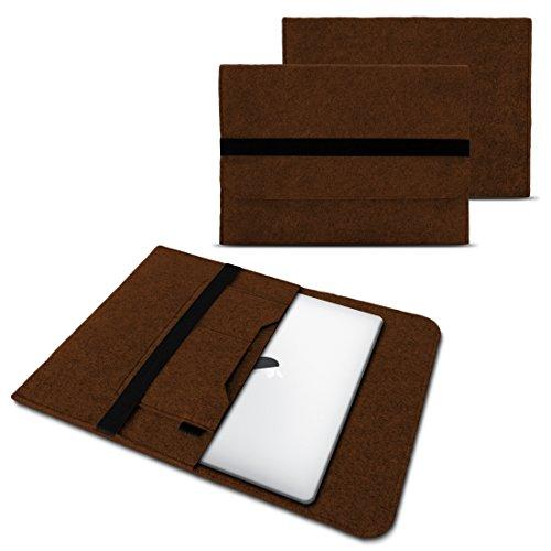 NAUC Laptop Tasche Sleeve Hülle Schutztasche Filz Cover für Tablets & Notebooks Farbauswahl kompatibel für Samsung Apple Asus Medion Lenovo, Farben:Braun, Größe:12.5-13.3 Zoll