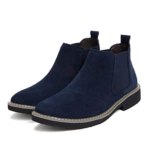 Men Chelsea Boots Suede Leather Durable Slip-On Autumn Winter Ankle Boots Lightweight Daily Work Solid Color Vintage Leather Boots