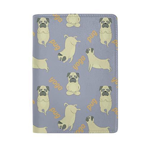 COOSUN Pugs - Funda de piel para pasaportes, diseño de meditación, para viajes, un bolsillo
