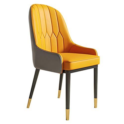 ADGEAAB Sillas de comedor modernas de piel sintética con respaldo alto, asiento suave acolchado para sillas de comedor y sala de estar, silla de cocina, silla de recepción (color: naranja y gris)