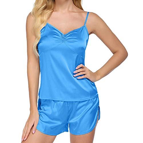 Pijamas Camisón Sexy para Mujer Tirantes de Encaje Ropa de Dormir Sexy Abertura en V Profunda luz Trasera Abierta Servicio a Domicilio