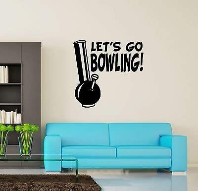 Wall Vinyl Marihuana Weed Lets Go Bowling Smoking VS3394
