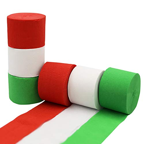 Christmas Red Green White Crepe Paper Streamer Rolls Hanging Party Decoration Total 490-Feet, 6 Rolls, Theme Party Streamer for Christmas Party Wall Decorations DIY Art Project Supplies, by BllalaLab