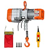 Prowinch 1/2 Ton Electric Chain Hoist Single Phase 1000 lbs Load Capacity 20ft Lift Height Hook Mount G80 Chain Double Chain Fall