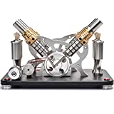 Sunnytech Hot Air Stirling Engine Motor Educational Electricity 4 Cylinders Generator Colorful LED M16-V4-D