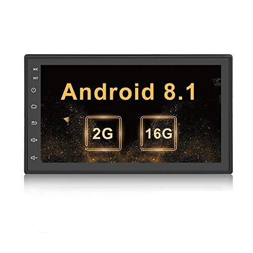 Doppel Din Autoradio Android 2G + 16G Quad Core in Dash GPS Navigation, Autoradio 7 Zoll Touchscreen MP5 Video Player Unterstützung BT USB WLAN Car Audio mit kostenloser Rückfahrkamera