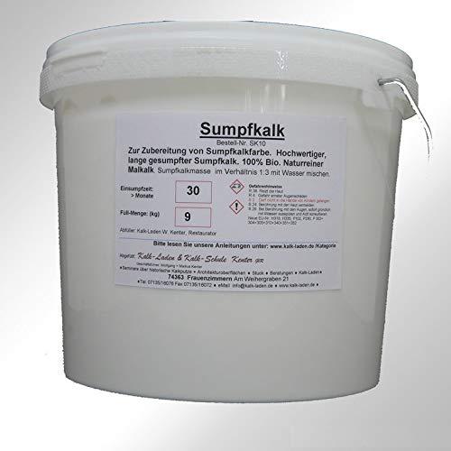 Sumpfkalk/Kalkfarbe/Streichkalk, 100% Bio, allergiefreundlich, pilzhemmend, 9 kg für ca. 127 qm