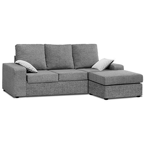 Mueble Sofa ChaiseLongue, MONTADO DE FABRICA, Tres plazas, Color Gris, cheslong Anti Manchas ref-54