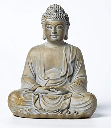 Meditating Buddha Statue, 10.3inch Buddha Serene Decorative Sitting Figurine Zen Sculpture Decoration for Home Indoor Outdoor Garden Patio Desk Porch Yard Art Decoration, Zen Decor
