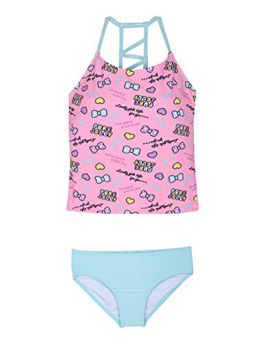 Firpearl Girl's Two Piece Swimsuit Flounce Tankini Kids Swimwear Pink&Lake Green L/10-12