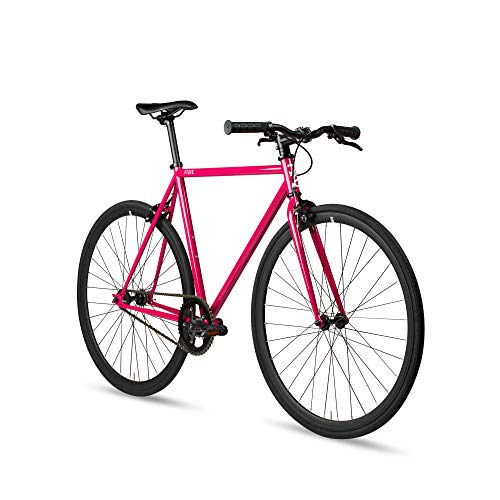 6KU Fixed Gear Single Speed Urban Fixie Road Bike, Fuchsia, 49cm/S