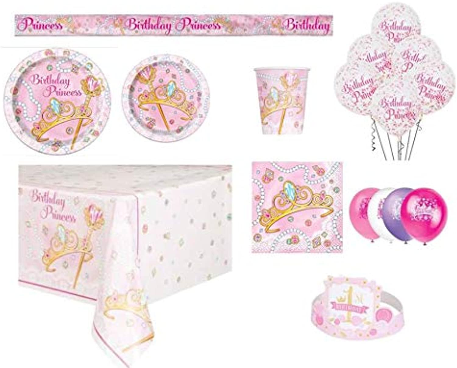 PartyZone2018 Jeweled Princess Girl Party Supplies Packages (Kids8)