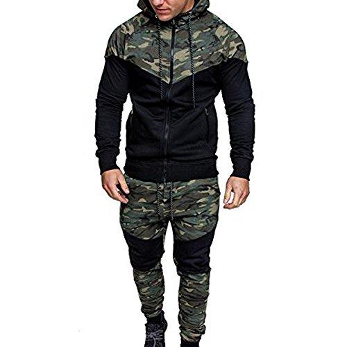 YEBIRAL Herren Trainingsanzug Jogginganzug Camouflage Freizeitanzug Kapuzenjacke Sporthose Hoodie Jogging Hose Jacke Sportanzug Military(XL,Camouflage)