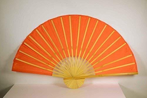 Déco Chine Bambusfächer Orange L: 90cm, Ø : 180cm, Tissu en Polyester