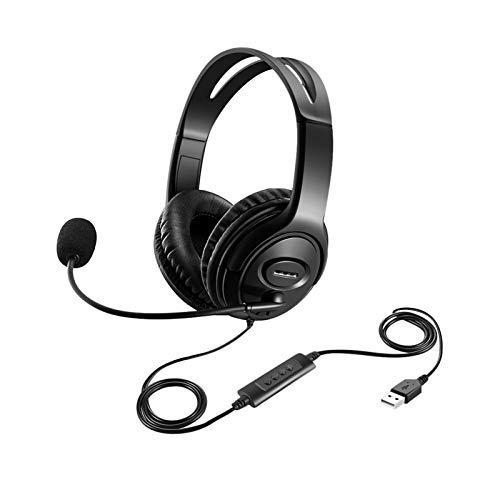Afaneep Cuffie per PC con USB, Leggero Cuffie con Microfono Cancellazione del Rumore per Call Center Pieghevole Cuffie per Skype Chat Conference Call Ufficio - 2 Anni di Garanzia