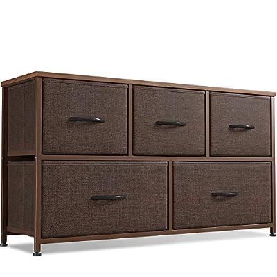 Cubiker Dresser Storage Organizer, 5 Drawer Dresser Tower Unit for Bedroom Hallway Entryway Closets, Small Dresser Clothes Storage with Wide Sturdy Steel Frame Wood Top, Brown