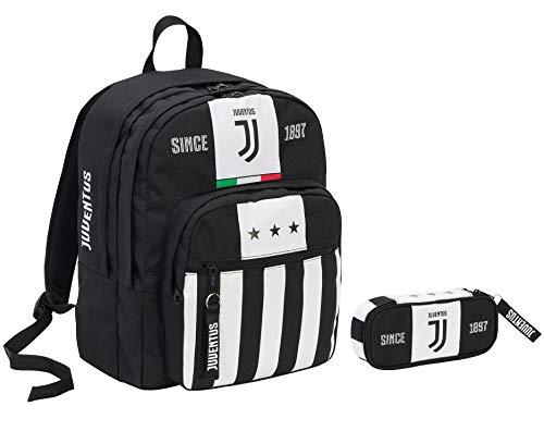 Zaino Big Plus JUVENTUS + Portapenne - Bianco&Nero - Gadget abbinato! - Scuola e tempo libero