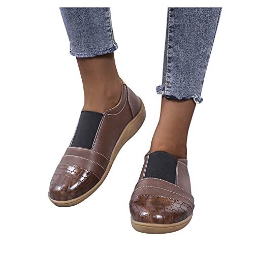 Beudylihy Zapatos de ocio para mujer, con cabeza redonda, base suave, goma elástica, con mangas, ligeros, a la moda, marrón, 36 EU