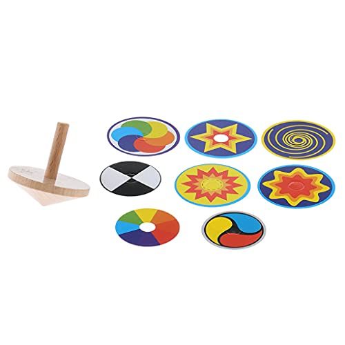 T TOOYFUL Giroscopio divertido de madera que gira la parte superior del juguete que gira con 8 tarjetas de dibujo
