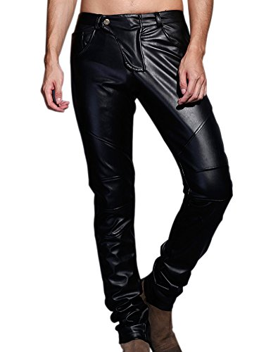 Idopy Men`s Slim Fit Party Performance Biker Faux Leather Jeans Pants Black 32