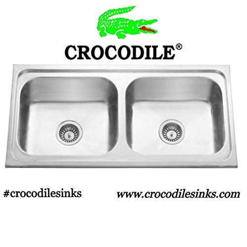 "CROCODILE ® 304 Grade Double Bowl Kitchen Sink (37"" x 18"" x 8"", Glossy & Other Sizes)"