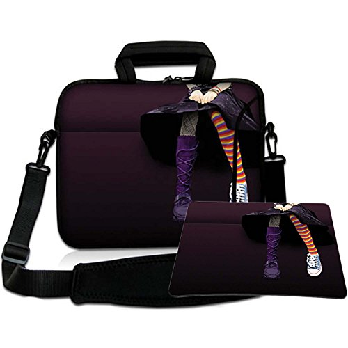 Luxburg Luxury Design Soft Sleeve Case Bag with Handle and Shoulder Strap for 12-Inch Laptop/Notebook + Free Mousepad - Emo Girl