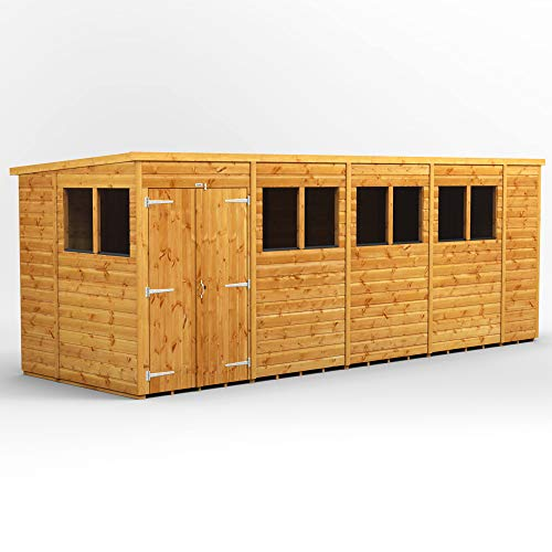 POWER | 18x6 Pent Double Door Wooden Garden Shed | Size 18 x 6 Sheds | Super Fast Delivery or Pick your own day
