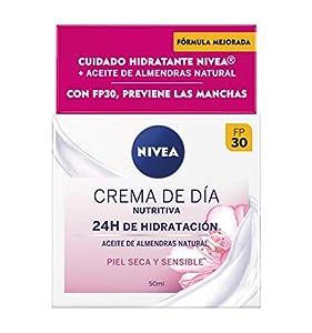 NIVEA Crema de Día Nutritiva FP30 (1 x 50 ml), crema facial con protector solar 30, crema hidratante facial para piel seca y sensible con manteca de karité