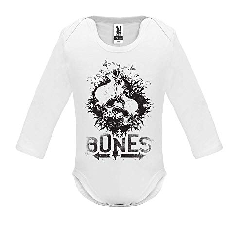 Body bébé - Manche Longue - Bad Bones Crew - Bébé Garçon - Blanc - 6MOIS