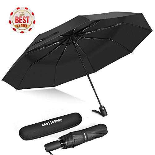 Travel Umbrella, Auto Open & Close Folding Windproof Umbrella with Teflon Coating, Reinforced 9 Ribs for One Handed Operation, Portable Fast Drying Umbrella, Slip-Proof Handle for Easy Carry, Black
