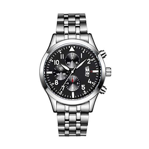OMMO LEBEINDR Moda Hombre Deporte Fecha Impermeable Reloj con Acero Inoxidable Brazalete cronógrafo Reloj del Negocio del Reloj del Regalo Negro Reloj de Cuarzo analógico