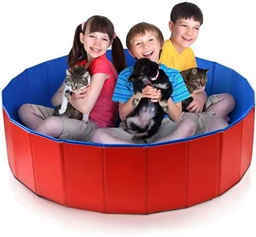 FHCSAO Piscina para Perros Bañera para Perros PVC Bañera Mascotas Plegable Antideslizante y Resistente al Desgaste, Desmontables Portatil Regalo para Mascotas,RedBlue-60x20cm