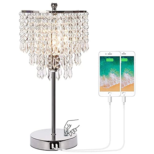 Stepless Dimmable Crystal Table Lamps With 2 USB Ports, Bedside Nightstand Desk Lamps With LED Bulb,for Bedroom Dorm Living Room (Color : EU)