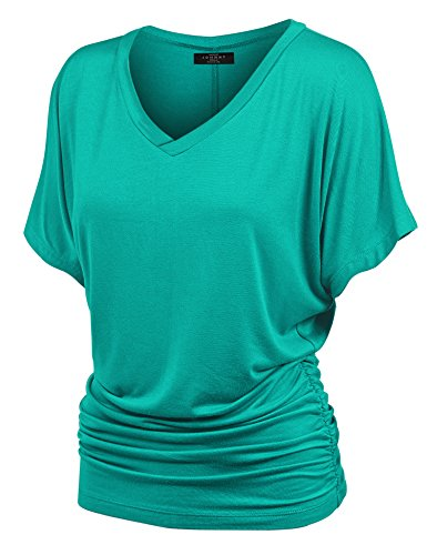 Made By Johnny MBJ WT1037 V Neck Short Sleeve Dolman Top with Side Shirring M Jade