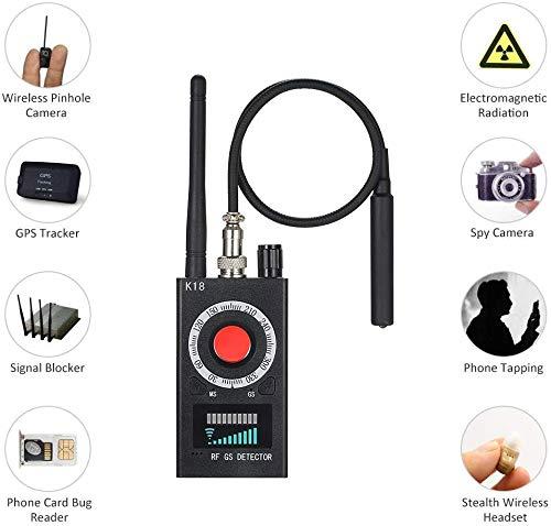 ICQUANZX Anti-Kamera-Detektor, RF-Signal-Detektor, sehr hohe Empfindlichkeit, kabellose Kamera, GSM-GPS-Geräte, Sucher Detektor mit Pinhole Laser Linse, Schwarz