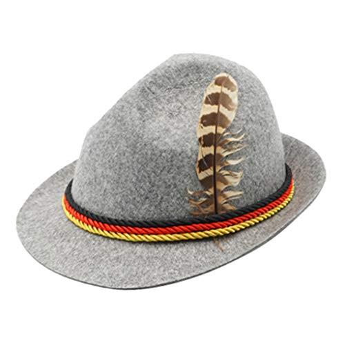 FLAMEER Feiertag Oktoberfest Wolle Bayerische Fedora Hut Bier Kostüm Cosplay Hut Für Männer - Hellgrau
