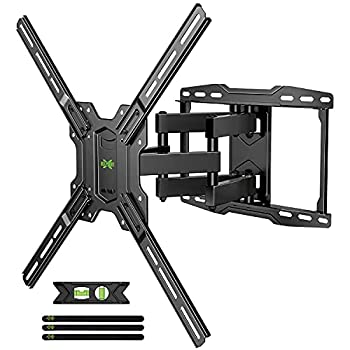 Full Motion TV Wall Mount Swivel and Tilt for Most 42-75 inch Flat Screen TVs/Curved TVs TV Mount Bracket Dual Articulating Arms Max VESA 600x400mm 100lbs Up to 16  Wood Stud by USX MOUNT