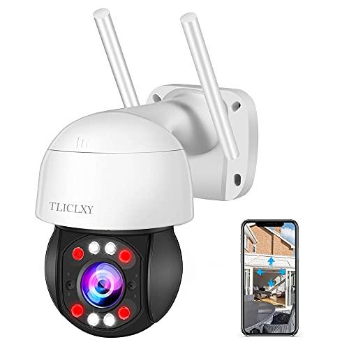 Cámara de Vigilancia Interior/Exterior IP66, Cámara de Seguridad Visión Nocturna en Color, Audio Bidireccional, Detección de Movimiento, Notificación de Alarma, Soporte para Vista Remota Tuya App