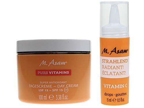 M. Asam® BOOST Vitamin C Drops STRAHLEND (15ml) + Pure Vitamins Tagescreme mit LSF15-100ml
