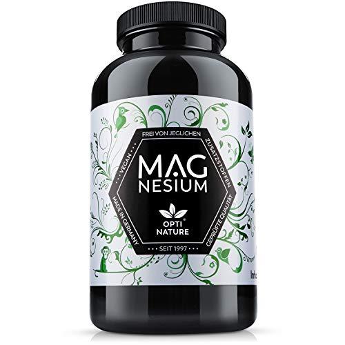 LEISTUNGS-SIEGER 2021 | 365 Magnesium Kapseln hochdosiert | Made in Germany, hoch bioverfügbar, zertifiziert & Vegan | Seit 1997 - OPTI NATURE