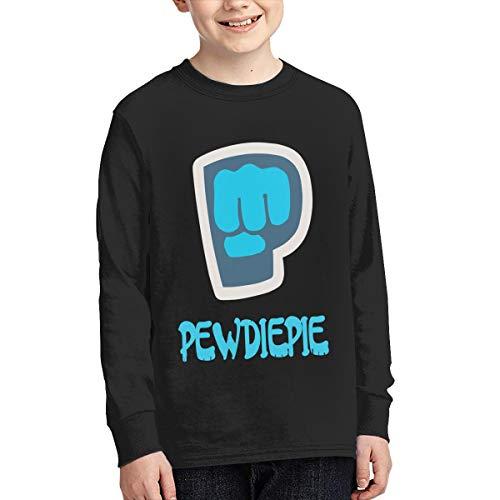 Youth Teen Boys Girls Pewdiepie Logo Merch Bekleidung T-Shirt Rundhalsausschnitt Tee T Shirt Baumwolle Sommer für Jugen Mädchen Jungens Black XL