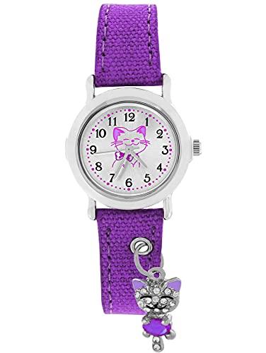 Pacific Time Kinder Armbanduhr Mädchen funkelnder Anhänger Katze am Textilarmband violett lila Analog Quarz 87416
