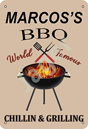 Vvision Marcos 's Bbq World Famous Chillin And Grilling Tin Sign Metal Poster Warning Sign Retro Iron Sheet Plaque Vintage Poster For Bedroom Family Wall Aluminum Art Decor Garage Door