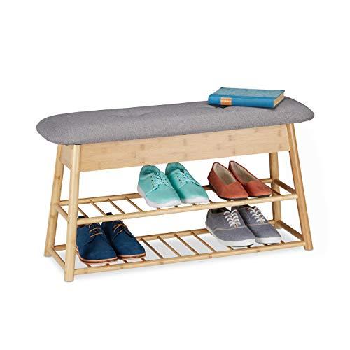 Relaxdays Schuhbank f. 8 Paare, 2 Ablagen, klappbares Sitzpolster, 2 Fächer Stauraum, Bambus, HBT 48 x 90 x 28 cm, Natur, 1 Stück