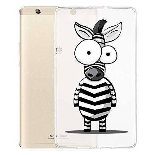 ZhuoFan Coque Huawei Mediapad M3 8.4 Housse de Protection Étui Fin en Silicone Transparente avec Motif Antichoc Flexible TPU Cover Case pour Tablette Huawei Mediapad M3 8,4 Poucess, Zèbre
