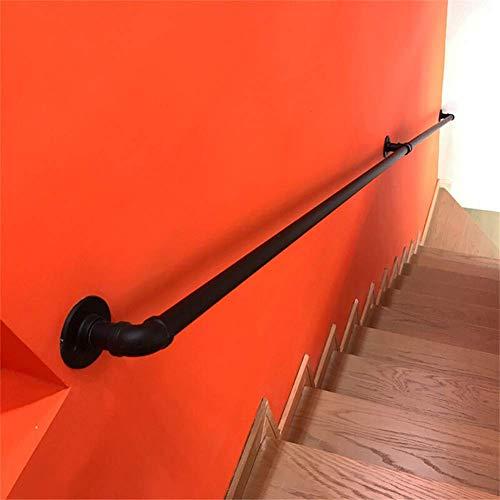 Viento Industrial Pasillo Interior Interior /Ático Muro Viejo Antideslizante Valla de pasamanos Apoyabrazos de tuber/ía//Pasamanos de Escalera de Hierro Forjado Longitud: 30 cm-300 cm YIKE Negro