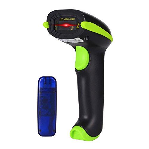 Hangang Barcode Scanner Bluetooth sans fil et sans fil 2,4GHz USB 2.0Automatique lecteur de code-barre batterie Barcode Scanner manuel Green