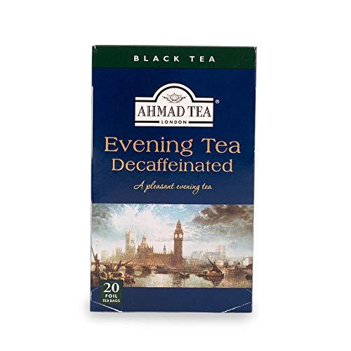Ahmad Tea Decaffeinated Evening Tea Schwarzer Tee mit Bergamotte-Geschmack 20 Teebeutel mit Band/Tagged, 40 g